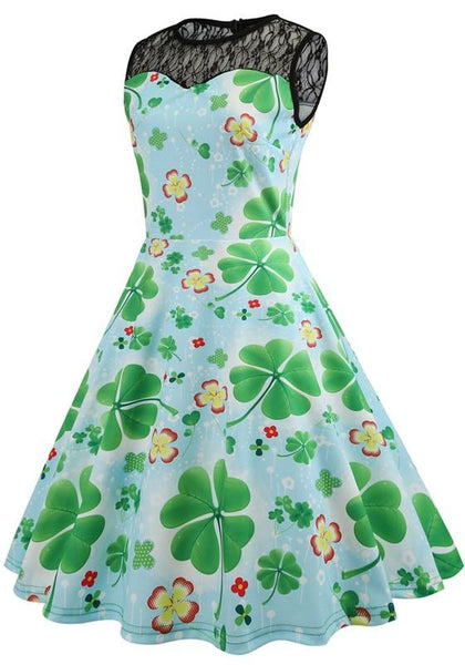 Green Patchwork Lace St Patrick's Day Clovers Print Puffy Cute Midi Dress