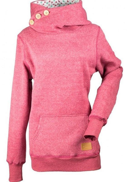 Red Plain Pockets Buttons Hooded Long Sleeve Fashion Sweatshirt