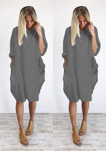 Grey Plain Pockets Round Neck Casual Midi Dress
