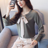 ByChicStyle Green Bow Round Neck Long Sleeve Fashion Blouse