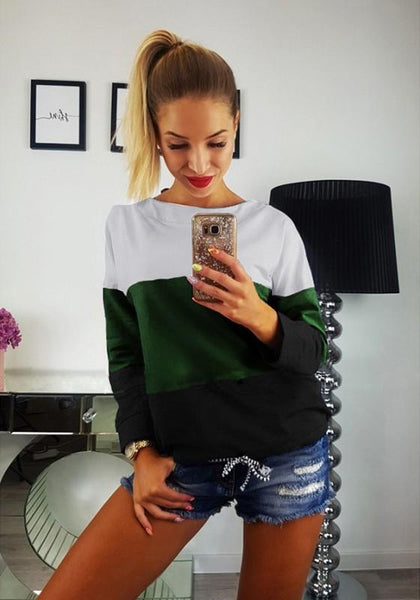 Green Patchwork Tie Back Round Neck Casual Pullover Sweatshirt