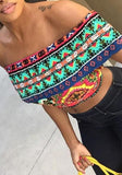 ByChicStyle Green-Orange Geometric Crop Off Shoulder Tribal Print Aztec Dashiki Cute Blouse