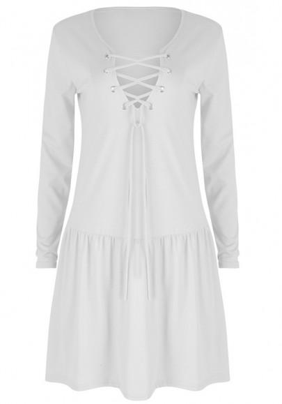 Casual New Women White Plain Drawstring V-neck Fashion Cotton Blend Mini Dress