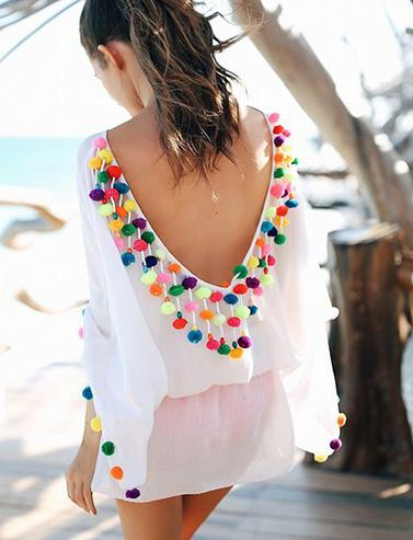 Casual Chicnico White backless Colorful Ball Beach Cover Up Cape