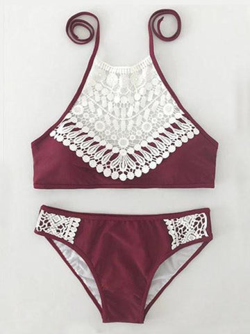 Casual Boho Ladies Lace Halter Bikini Set