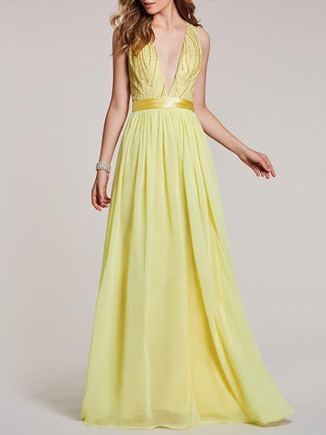 Deep V-neck Sleeveless Evening Dress
