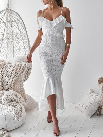 Lace Hollow V-neck Solid Midi Dresses