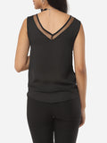 ByChicStyle Hollow Out Patchwork Plain Modern V Neck Sleeveless-t-shirt - Bychicstyle.com