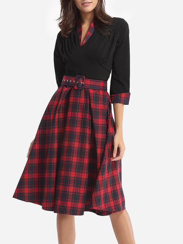Casual Assorted Colors Plaid Printed Courtly V Neck Skater Dress