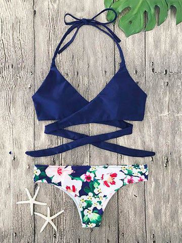 Casual Blue Romance Floral Print Cross Bikini Set