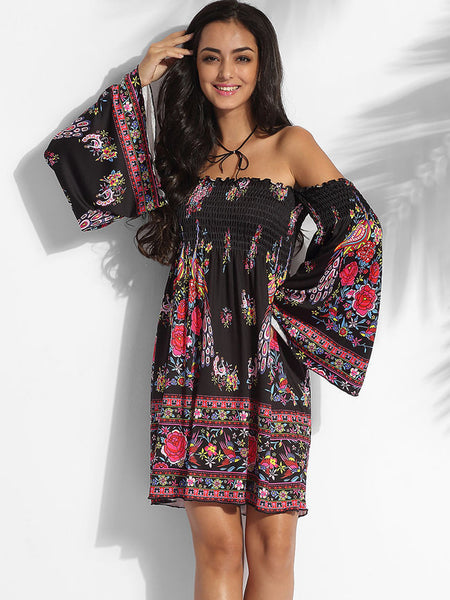 Off Shoulder Cotton Assorted Colors Floral Printed Shift-dress - Bychicstyle.com