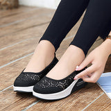 ByChicStyle Casual Mesh Lace Flower Platform Rocker Sole Casual Shoes