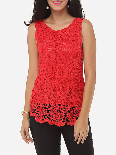 Lace Asymmetrical Hems Charming Round Neck Blouse - Bychicstyle.com