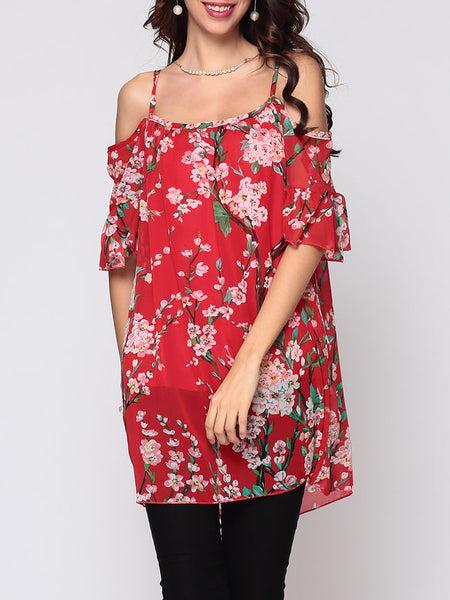 Floral Printed Hollow Out Longline Tees Mandarin Sleeve Captivating Off Shoulder Blouse - Bychicstyle.com