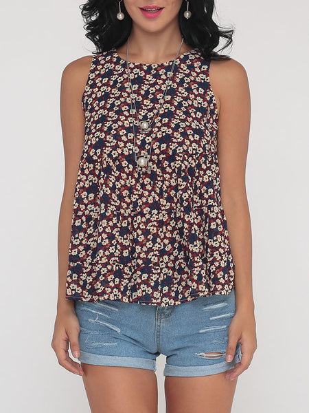 Floral Printed Polka Dot Loose Fitting Nifty Round Neck Blouse - Bychicstyle.com