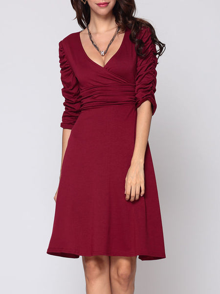 Casual Plain Captivating V Neck Skater-dress