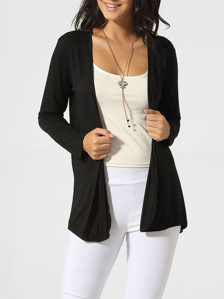 Collarless Hollow Out Patchwork Plain Cardigan - Bychicstyle.com