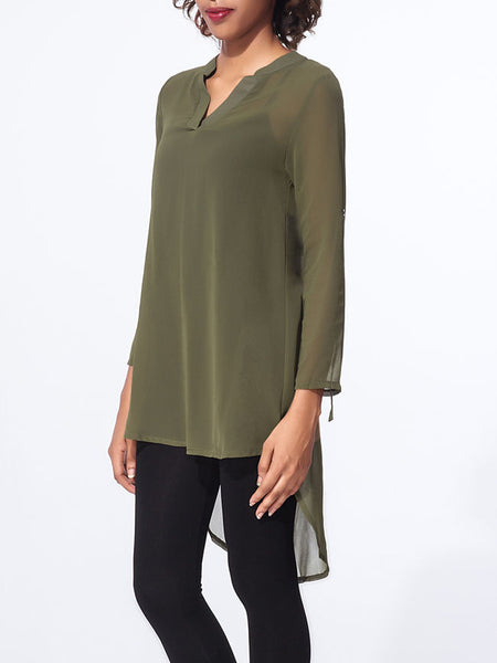 Split Neck Plain roll-up sleeve dip hem blouse - Bychicstyle.com