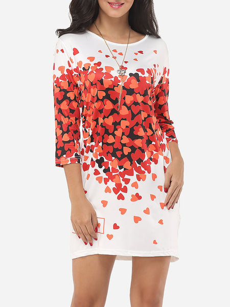 Sweetheart Printed Captivating Round Neck Shift-dress - Bychicstyle.com