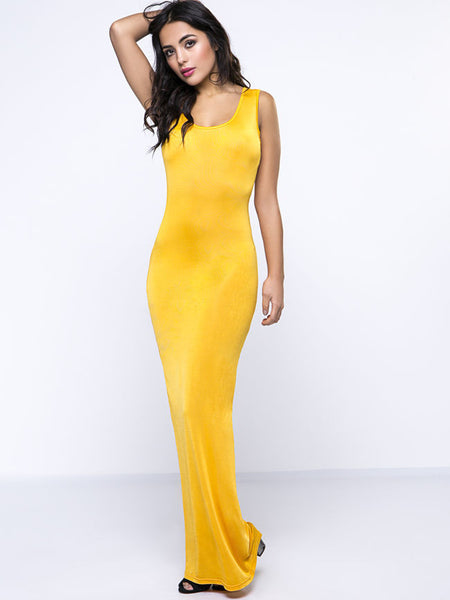 Plain Glamorous Round Neck Maxi Dress - Bychicstyle.com