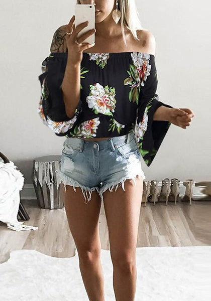 Black Floral Print Boat Neck Fashion Cotton Blouse