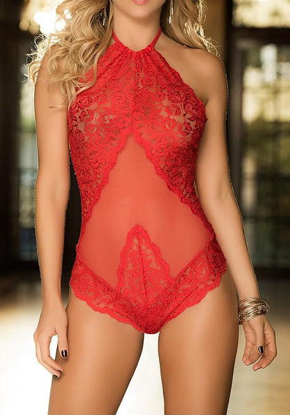 Red Patchwork Lace Backless Halter Neck Short Jumpsuit
