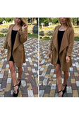 ByChicStyle Khaki Plain Pockets Long Sleeve Casual Cardigan Sweater