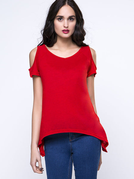 Open Shoulder Solid Short Sleeve T-Shirt With Asymmetric Hem - Bychicstyle.com
