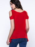 ByChicStyle Open Shoulder Solid Short Sleeve T-Shirt With Asymmetric Hem - Bychicstyle.com