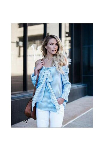 Blue Striped Bow Boat Neck Fashion Polyester Blouse