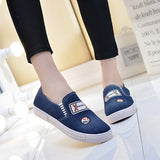 ByChicStyle Casual Denim Breathable Printting Slip On Flat Casual Lazy Shoes