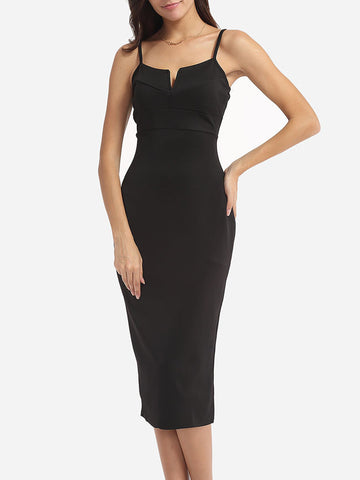 Spaghetti Strap Plain Little Black Cocktail-Dress - Bychicstyle.com