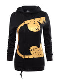 ByChicStyle Casual Zips Color Block Printed Hoodie