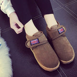 ByChicStyle Casual Flag Union Jack Hook Loop Flat Casual Boots For Women