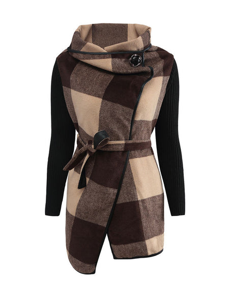 Cowl Neck Bowknot Removable Tie Slit Pocket Plaid Coat - Bychicstyle.com