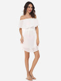 ByChicStyle Plain Falbala Captivating Off Shoulder Skater-dress - Bychicstyle.com