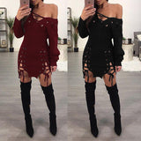 ByChicStyle Casual Women Sexy Deep V Neck Lace Up Bodycon Dress Double Slit Hollow Out Clubwear