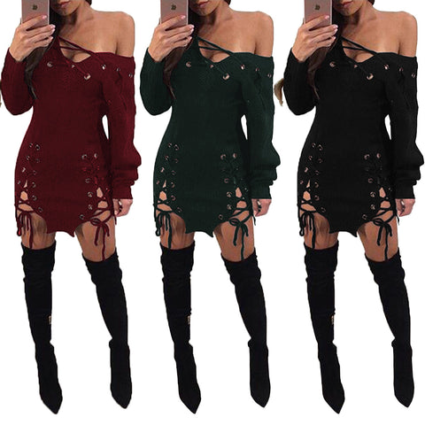 Casual Women Sexy Deep V Neck Lace Up Bodycon Dress Double Slit Hollow Out Clubwear