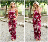 ByChicStyle Casual Floral Print Women's Fashion Casual Garden Sleeveless Jumpsuit Rompers
