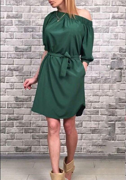 Army Green Sashes Bandeau Off Shoulder Homecoming Party For Junior Casual Midi Dress