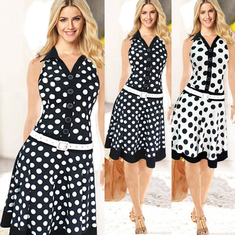 Women Autumn Celebrity Pinup Polka Dot Dress Elegant Tunic Business Party Ball Gown Dress
