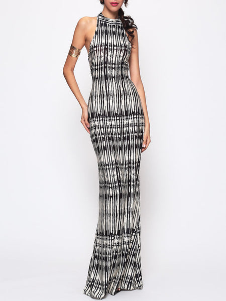Hollow Out Printed Sexy Band Collar Maxi-dress - Bychicstyle.com