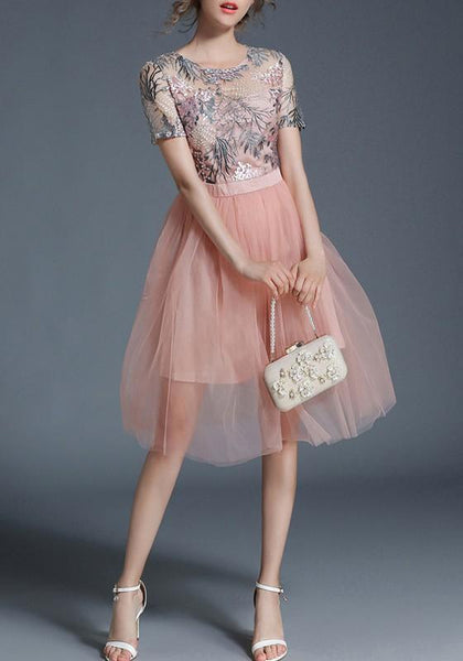 Pink Patchwork Draped Grenadine Embroidery Tutu Elegant Midi Dress