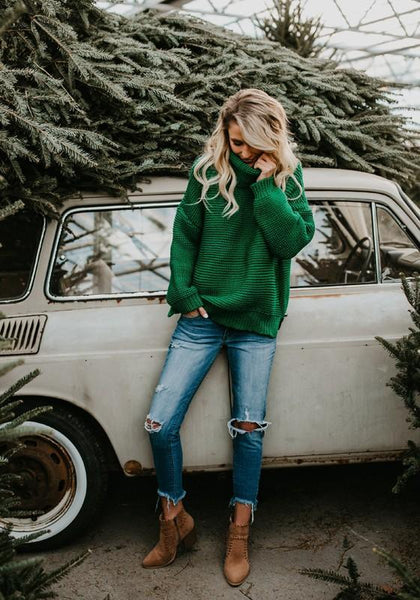 Green Oversize Long Sleeve High Neck Christmas Casual Pullover Sweater