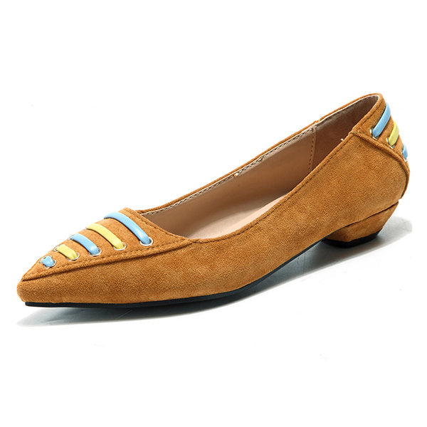 Casual Stylish Pointed Toe Slip On Low Heel Shoes For Women