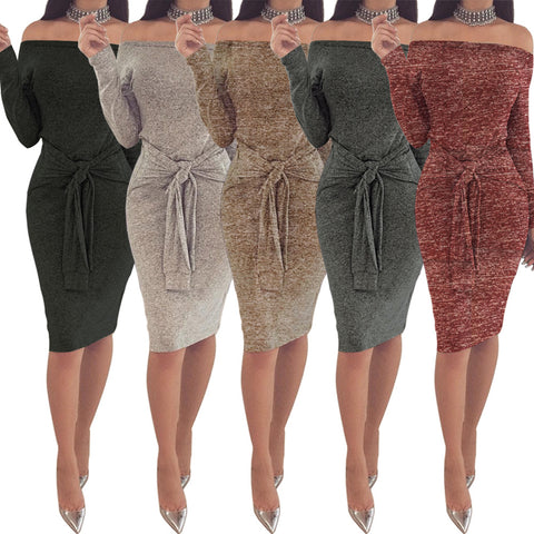 Bodycon Bandage Evening Cocktail Party Dress Women Off the Shoulder Long Sleeve Sexy Dress
