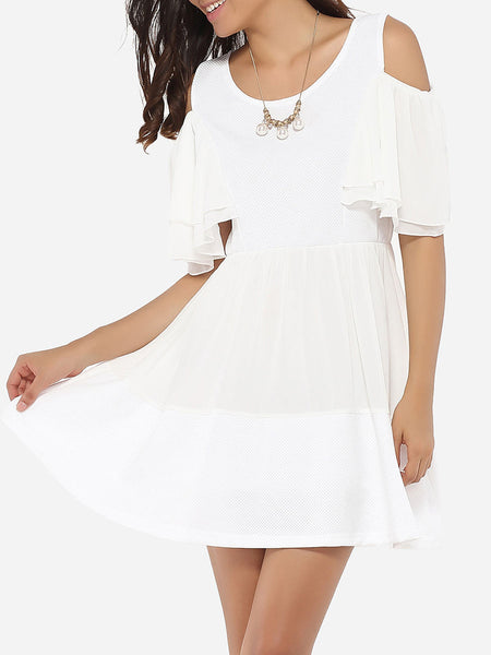 Casual Round Neck Dacron Hollow Out Plain Skater-Dress