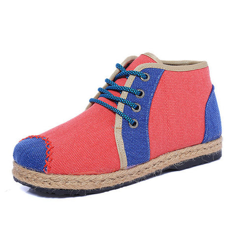 Casual Color Match Flax Cotton Shoes Thailand Style Boots