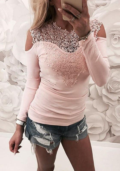 Pink Patchwork Lace Cut Out Round Neck Fashion T-Shirt