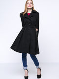 ByChicStyle Black Classical Lapel Double Breasted Plain Woolen Coat - Bychicstyle.com